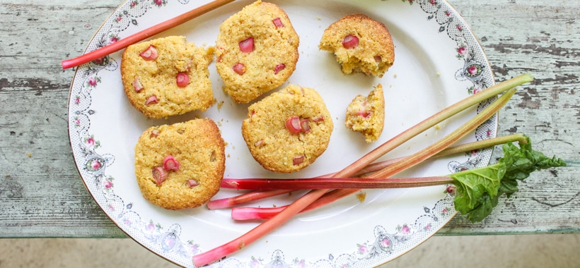 Rhubarb Cornmeal Muffins | Simple Bites #recipe #rhubarb