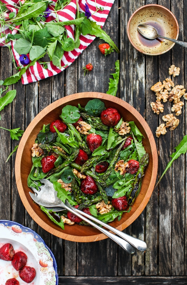 Spinach Salad with Grilled Strawberries, Asparagus & Walnuts | Simple Bites