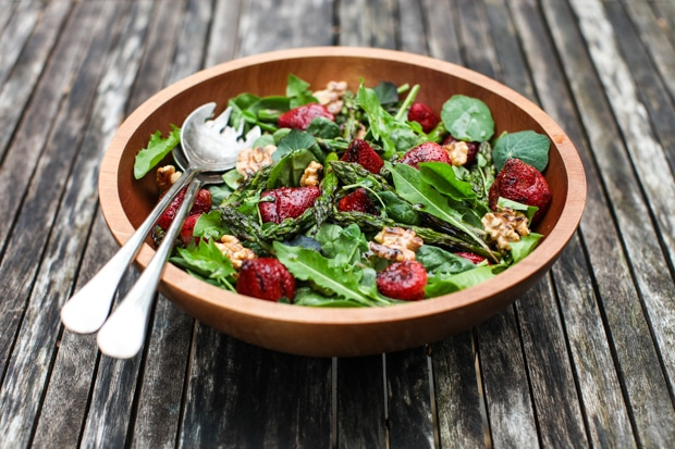 Spinach Salad with Grilled Strawberries, Asparagus & Walnuts | Simple Bites #recipe