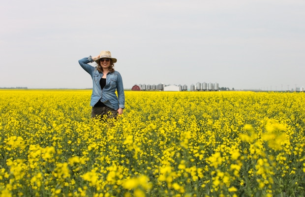 Aimee in Saskatchewan canola field | Simple Bites