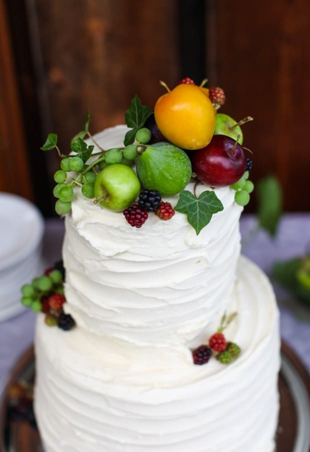 A simple, rustic wedding cake with fresh fruit #wedding #cake #fruit