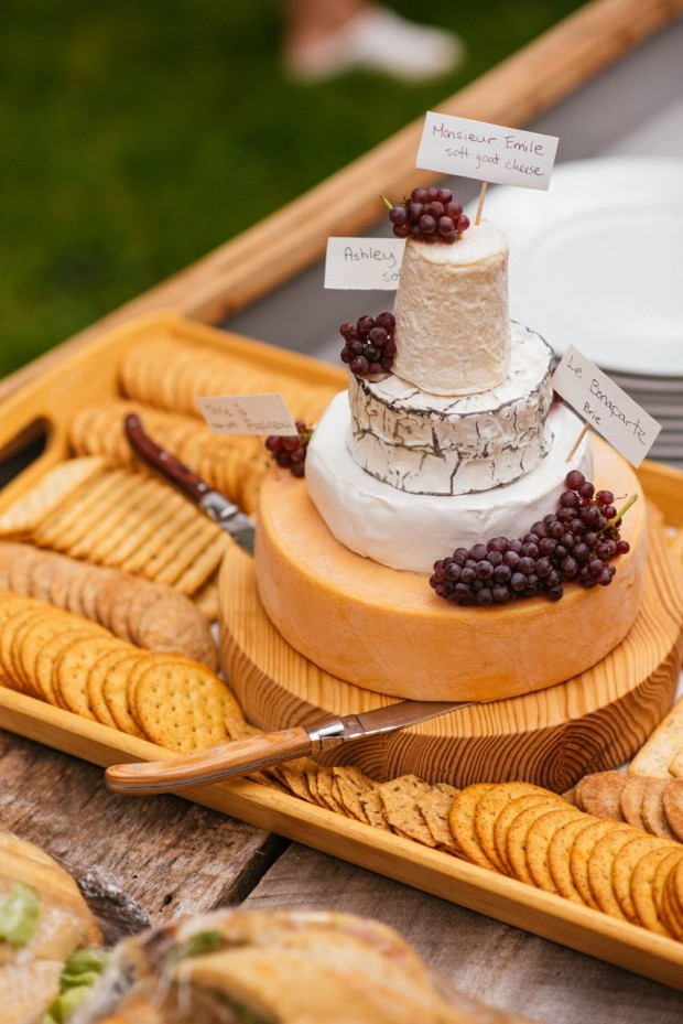 How to build a tiered cheese wheel 'cake'   Simple Bites #entertaining #tip #cheese #weddingcake