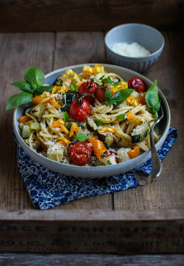 Eat Seasonal: Easy Roasted Vegetable Spaghetti || Simple Bites #recipe #dinner #vegetarian