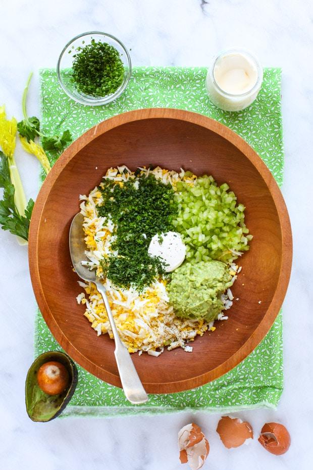Ingredients for Creamy Avocado Egg Salad Tea Sandwiches    Simple Bites