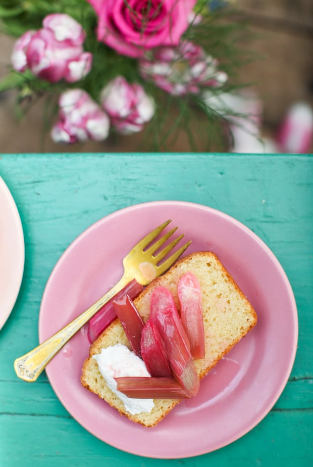 One-Bowl Lemon Ricotta Pound Cake with Roasted Rhubarb || Simple Bites