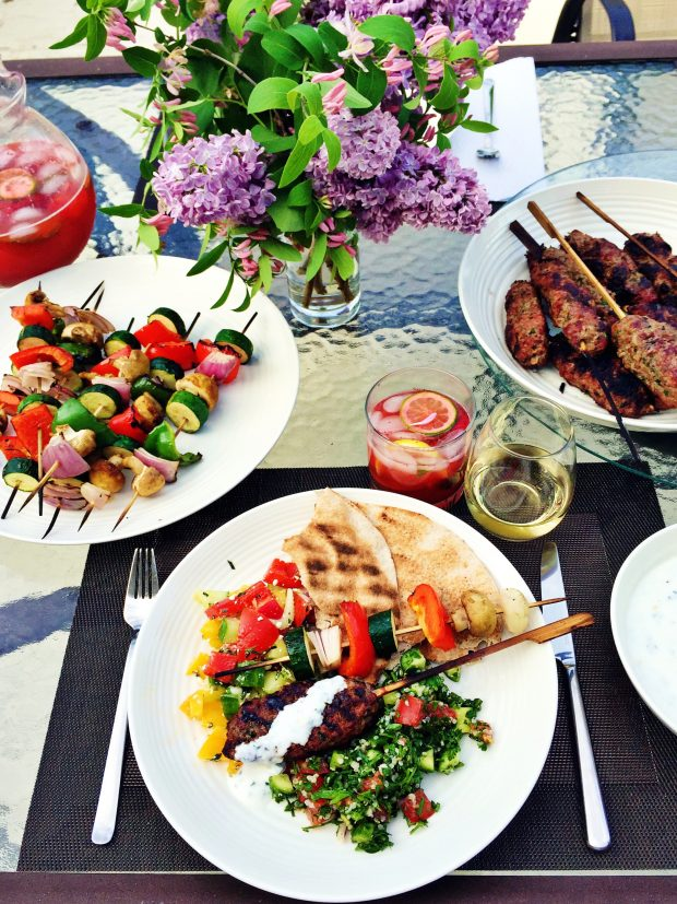 Grilled kofta tablescape   outdoor entertaining