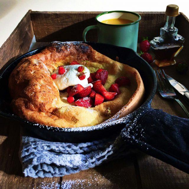 Strawberry Cinnamon Dutch Baby Pancake recipe | Simple Bites