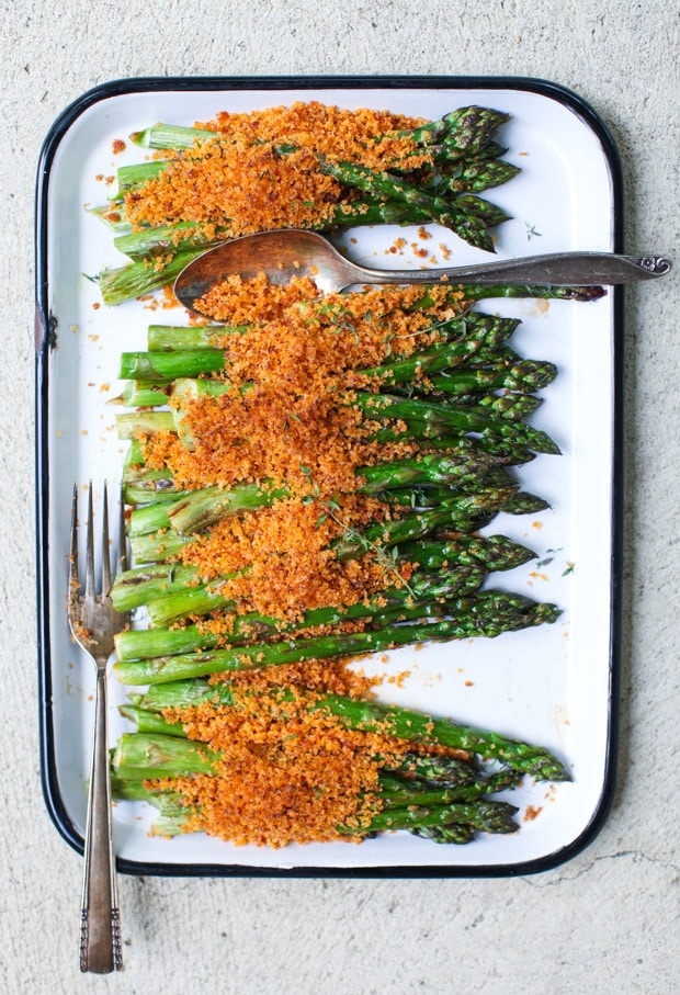 Roasted Asparagus with Harissa Brown Butter Breadcrumbs    Simple Bites