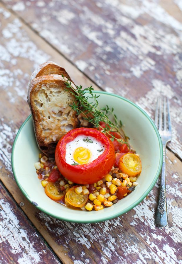 5-Ingredient Baked Eggs in Tomatoes on Roasted Corn and Lentils || Simple Bites