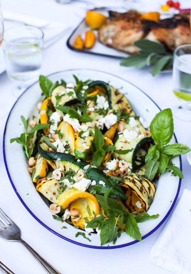 Grilled Zucchini Salad with Hazelnuts and Feta, Yogourt Mint Dressing   Simple Bites
