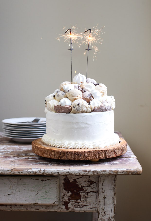 Meringue-Topped Ice Cream Birthday Cake | Simple Bites