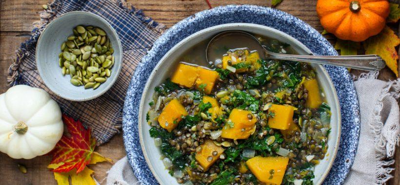 Simple Lentil, Pumpkin and Kale Soup || Simple Bites