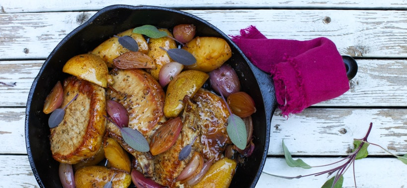Pork Chops with Roasted Pears, Sage and Shallots | Simple Bites