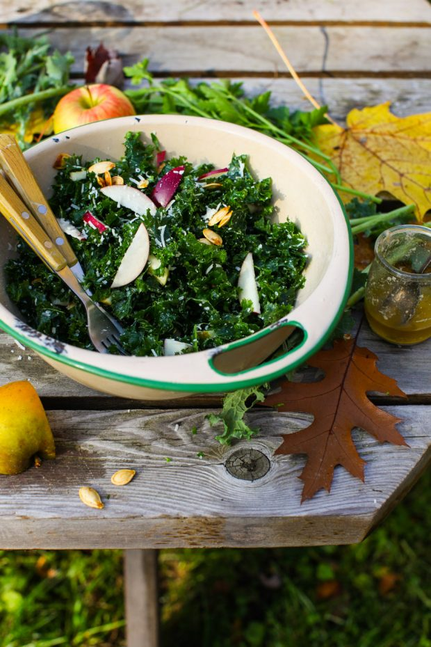 Autumn Apple and Kale Salad with Parmesan and Roasted Pumpkin Seeds || Simple Bites