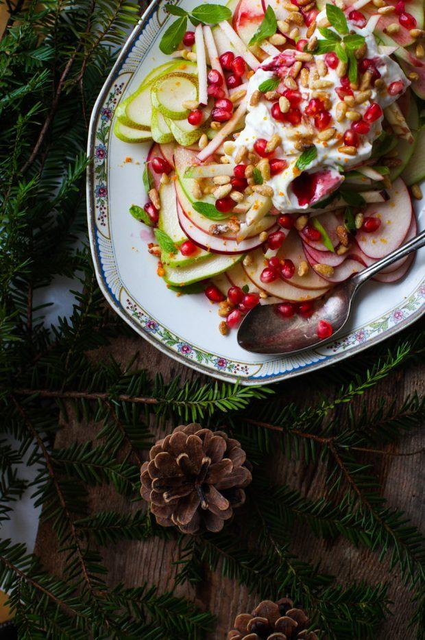 Crunchy Apple-Pear Salad with Pomegranate, Pine Nuts & Yogurt    Simple Bites