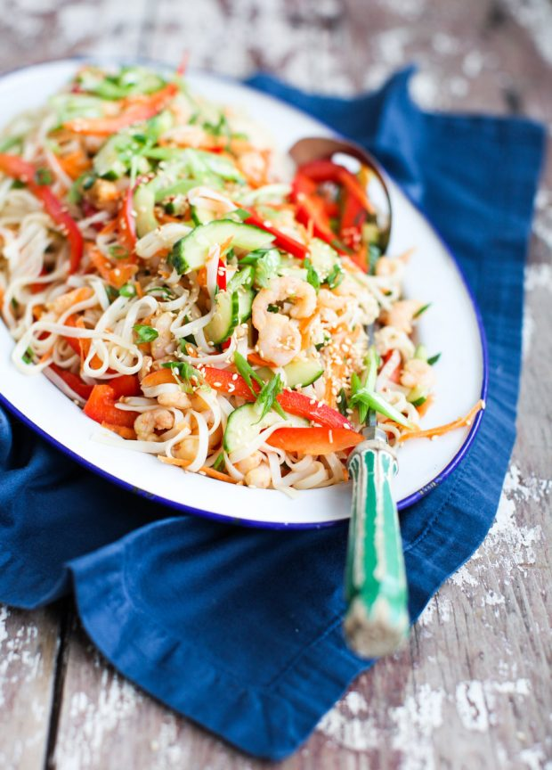 Rainbow Rice Noodle Salad With Shrimp And Sesame Simple Bites