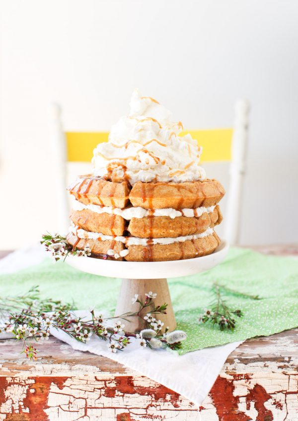 Maple Multigrain Waffle Cake with Cinnamon Syrup Drizzle